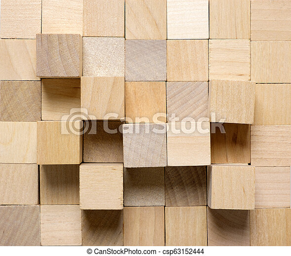Background made from different wooden cubes - csp63152444
