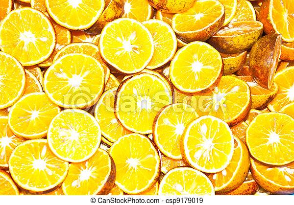 background made of sliced juicy oranges - csp9179019