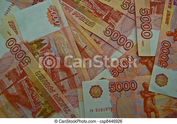Background of 5000 Russian banknotes - csp8446926