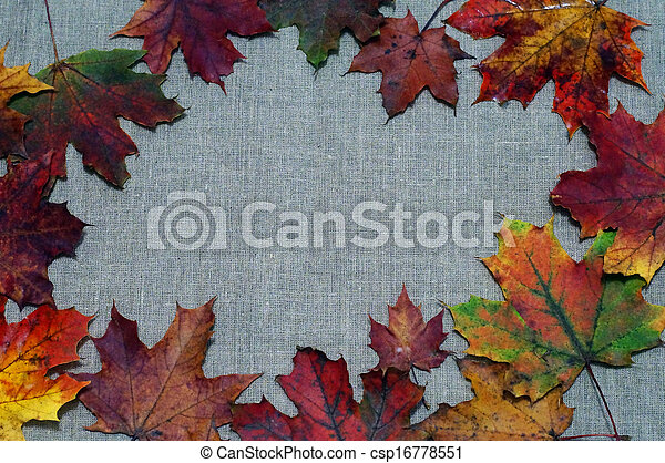 Background of autumn leaves on fabric - csp16778551