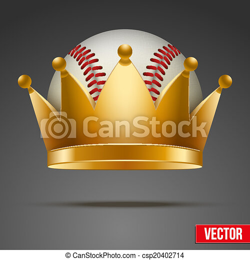 Background of Baseball ball with royal crown - csp20402714