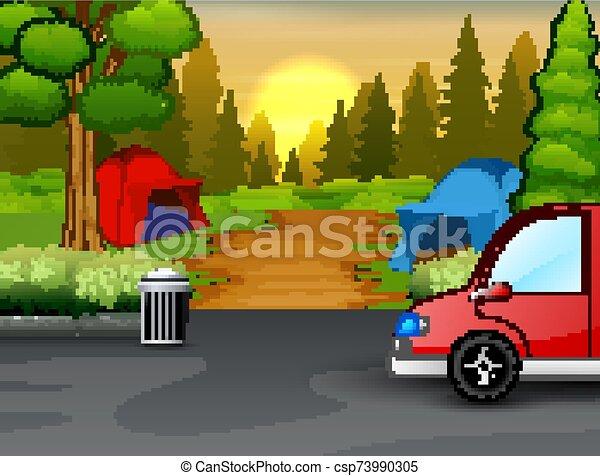 Background of campsite on sunset landscape - csp73990305
