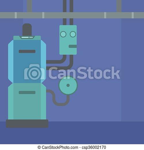 Background of domestic household boiler room. Background of domestic ...