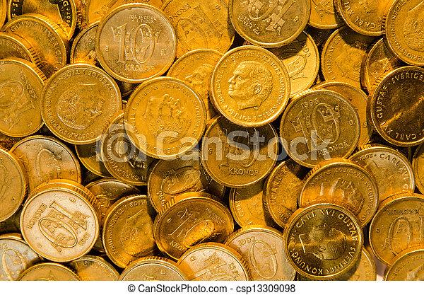 Background of golden coins - csp13309098