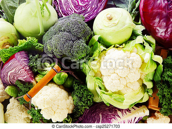 Background of healthy fresh cruciferous vegetables - csp25271703