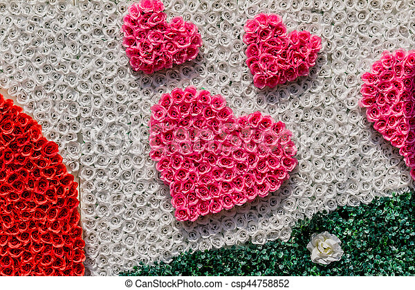 Background of heart-shaped with ribbon. - csp44758852
