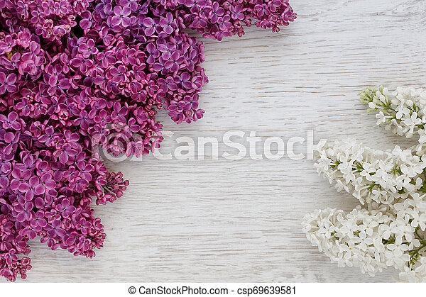 Background of lilac flowers on a wooden surface - csp69639581