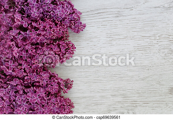 Background of lilac flowers on a wooden surface - csp69639561
