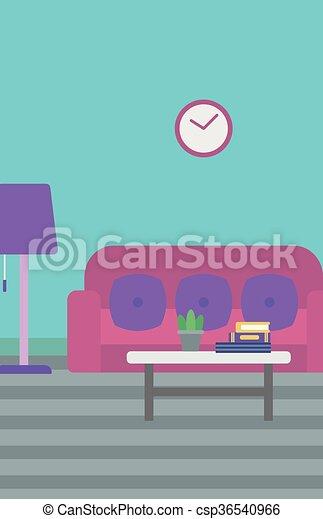Background of living room vector flat design illustration.... clip ...