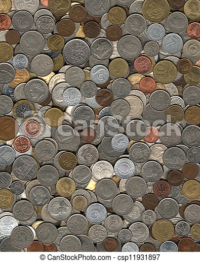 background of miscellaneous coins - csp11931897