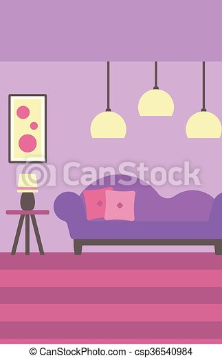 Background of modern living room with sofa and picture on the wall ...