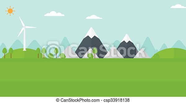 Background of mountains with wind turbine. - csp33918138