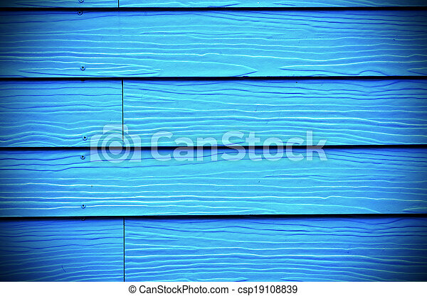 background of new blue painted wood - csp19108839