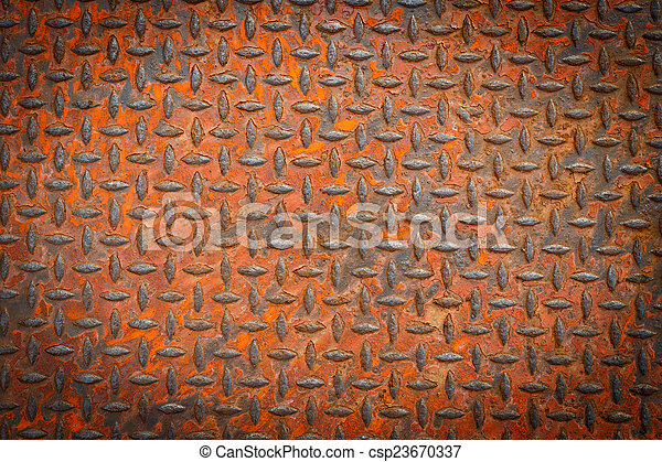 Background Of Old Metal Diamond Plate In Red Color With Rusty