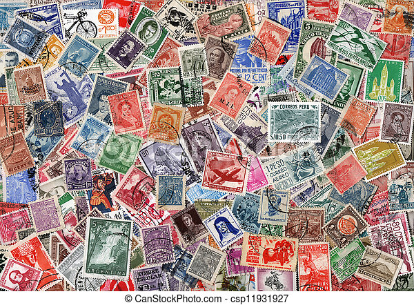 background of old used latin american postage stamps vintage