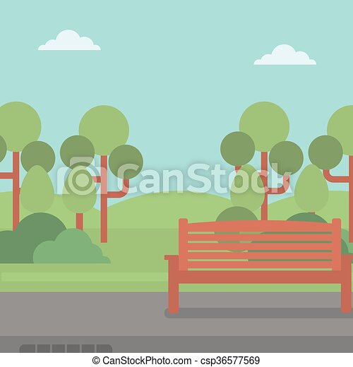 Background of park with bench. - csp36577569