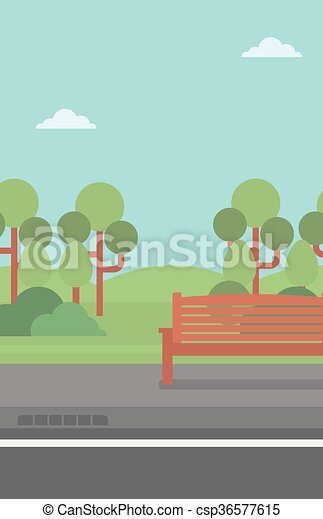 Background of park with bench. - csp36577615