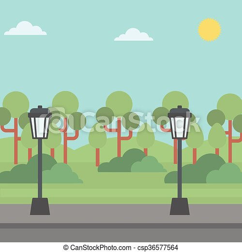 Background of park with streetlight. - csp36577564