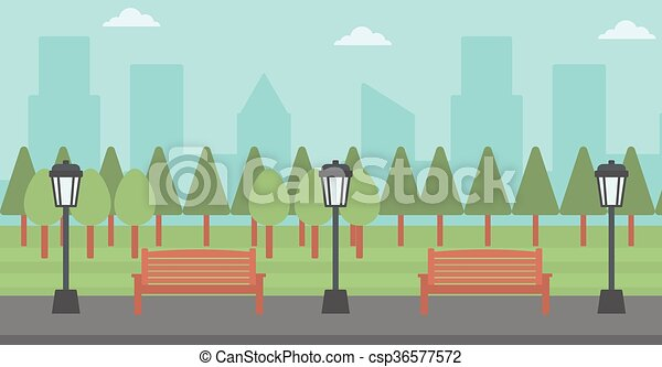 Background of park with streetlight. - csp36577572