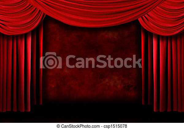 Background of Red Stage Theater Drapes - csp1515078
