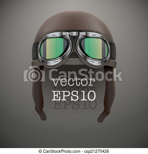 Background of Retro aviator pilot helmet with goggles. - csp21270426