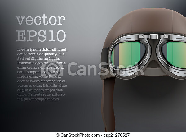 Background of Retro aviator pilot helmet with goggles. - csp21270527