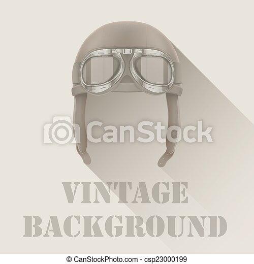 Background of Retro aviator pilot or biker helmet with goggles. - csp23000199