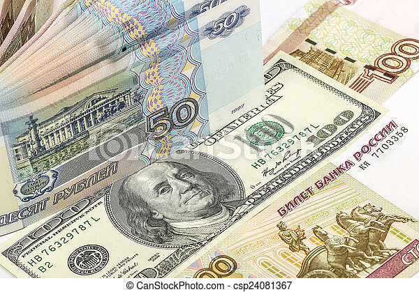 Background of Russian and American banknotes - csp24081367