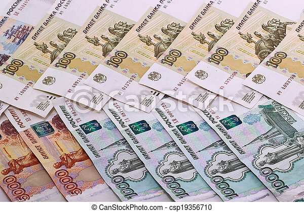 Background of Russian banknotes - csp19356710