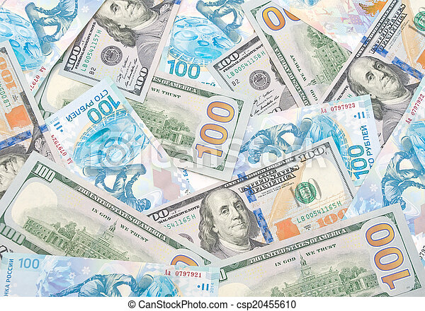 background of Russian rubles and U.S. dollars - csp20455610