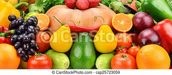 Background of set fruits and vegetables - csp25723059