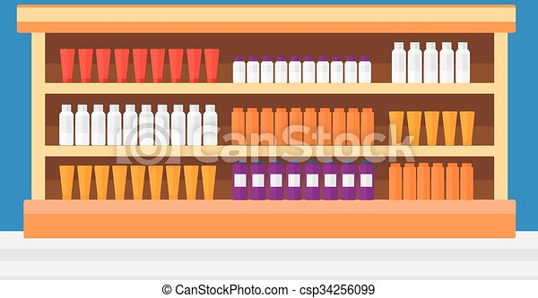 Background of shelves in supermarket with toiletry. - csp34256099