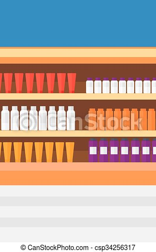 Background of shelves in supermarket with toiletry. - csp34256317