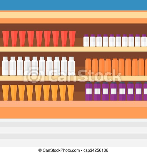 Background of shelves in supermarket with toiletry. - csp34256106