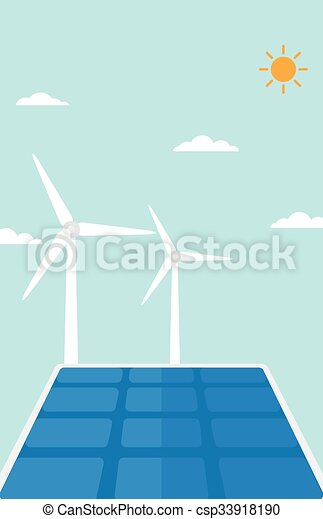 Background of solar panels and wind turbines. - csp33918190