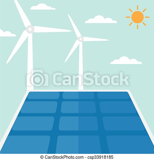 Background of solar panels and wind turbines. - csp33918185