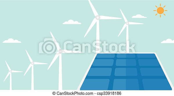 Background of solar panels and wind turbines. - csp33918186