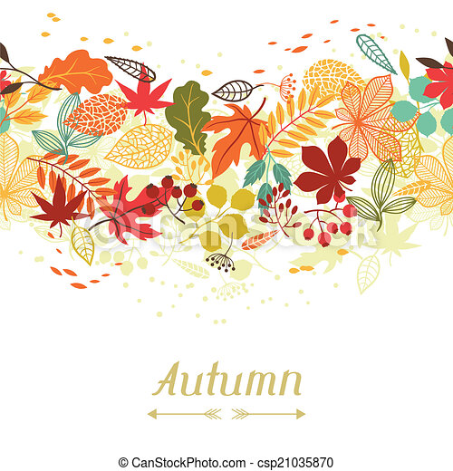 Background of stylized autumn leaves for greeting cards. - csp21035870