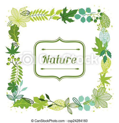 Background of stylized green leaves. - csp24284160