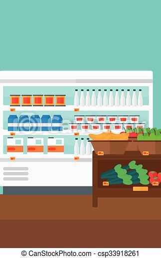 Background of supermarket shelves. - csp33918261