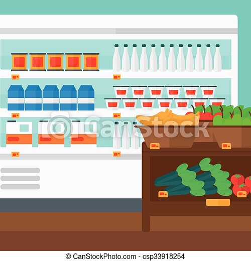 Background of supermarket shelves. - csp33918254