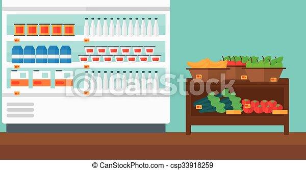 Background of supermarket shelves. - csp33918259