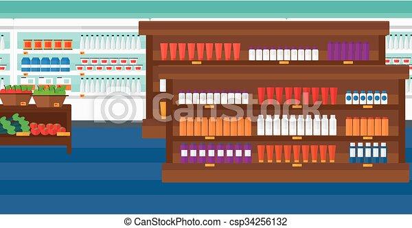 Background of supermarket shelves. - csp34256132