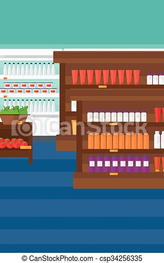 Background of supermarket shelves. - csp34256335