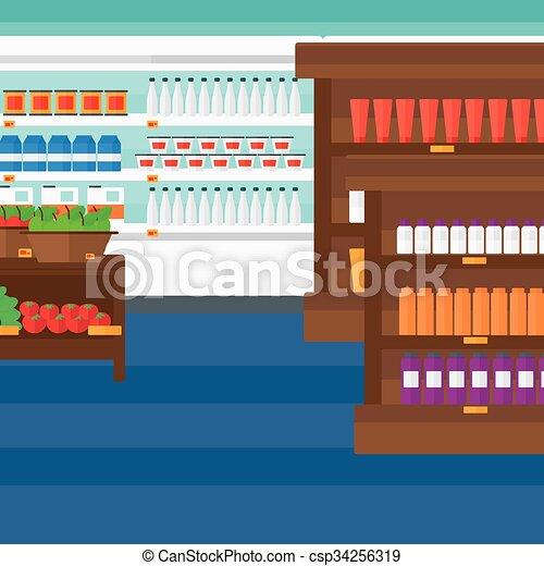 Background of supermarket shelves. - csp34256319