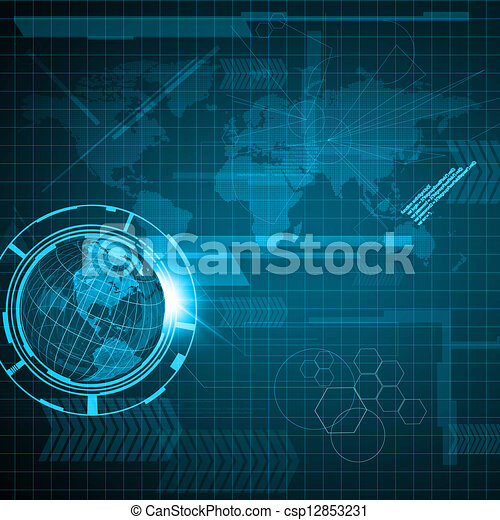 Background of Technology with earth globe - csp12853231