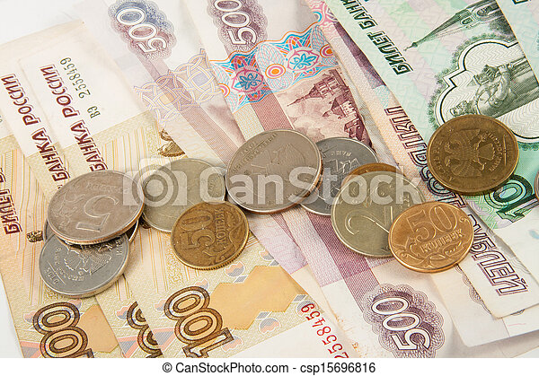 Background of thousandths Russian banknotes - csp15696816