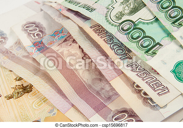 Background of thousandths Russian banknotes - csp15696817