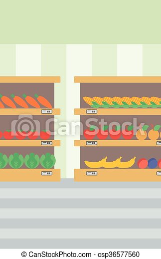 Background of vegetables and fruits on shelves. - csp36577560