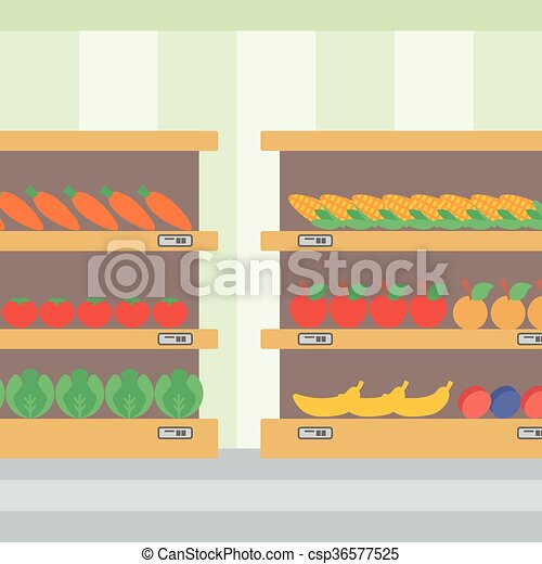 Background of vegetables and fruits on shelves. - csp36577525